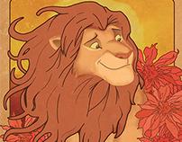 Cartaz Rei Leão inspirado em Alphonse Mucha