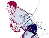 Rugby Player Illustration for AJ Bell Stadium