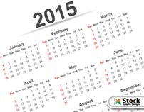 Simple 2015 Calendar Template Vector Free