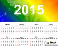 Vector 2015 Calendar on Rainbow Colors Background