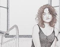 Isabelle Huppert dotwork portrait