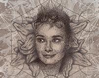 Audrey Hepburn dotwork portrait