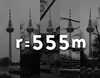 r=555m