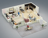 3d floor plan for real state marketing