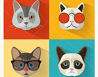 Cat Portraits Vectors