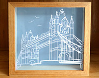 London Bridge handmade Papercut art