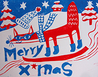 Merry Xmas SKI FOX lino cut printed Christmas card