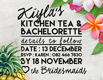 Kiy's Kitchen Tea and Bachelorette Invite