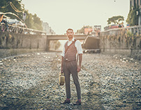 Handsome hipster man lifestyle shooting in Milan