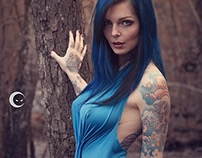 Ria blue dress in the wood