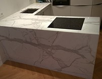 Küche aus Calacatta Marmor