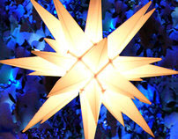 Moravian Star with Blue Lights