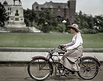 Restored and Colorized. Woman on a Motorcycle Ride,1918