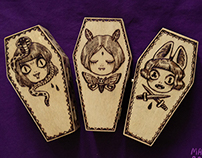 3 SISTERS (wooden coffin box set)