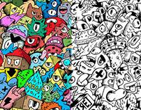 Monster invasion doodle illustration