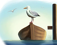 Seagull on a boat illustration