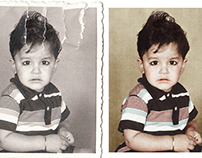 Restoration and colorisation of a torn photograph