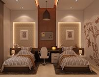2 beds bedroom design