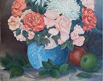 Пионы и розы в гжельской вазе