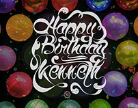 HBD to him lettering