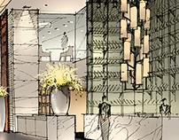 餐厅设计--手绘+PS