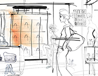Illustrations for wallpaper, showrom La Perla