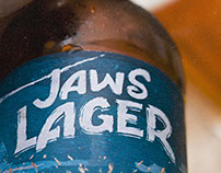 JAWS LAGER. JAWS BREWERY. BEER LABEL DESIGN