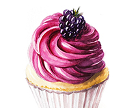 Watercolor berry cupcake