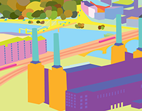 Battersea Power Station and Chelsea Bridge