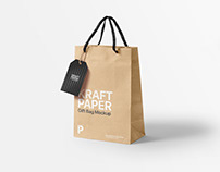 Free Kraft Paper Gift Bag Mockup
