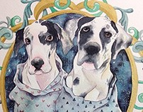 Dogs in Watercolor - Commission