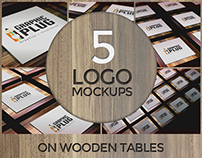 5 Logo Mockups on Wooden Tables