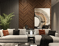 French Fir wooden wall panels in interior