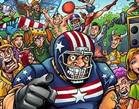 Football Tailgate Cartoon Characters
