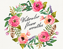 Watercolor flower wreathes