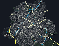 Transport flows in Brussels at peak hour