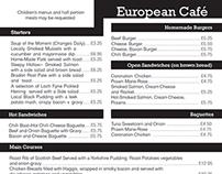 European Cafe Menu
