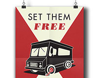 Freedom For Food Trucks, WPA Style Poster