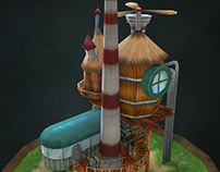 steampunk lowpoly house