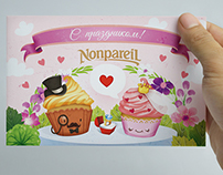 """Greeting cards for """"Nonpareil"""" cakes"""