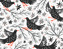 Seamless patterns with flowers and funny birds