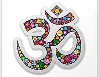 Om Aum Namaste Yoga Floral Symbol
