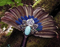 DANU THE DIVINE Turkey Blue Macaw Feather Smudge Fan