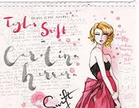 Taylor Swift in Carolina Herrera. Golden Globes 2014