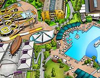 Pegasos World Hotel Info Map Illustration