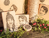 Wrapping Paper with Portrait Stamps