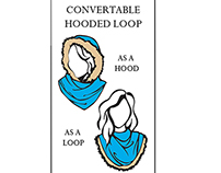 Hooded Loop Scarf Hangtag Design & Illustration