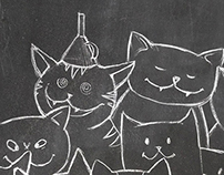 Funny Cats on chalkboard