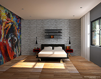 Interior design of a bedroom.