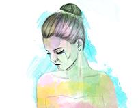 Digital watercolor girls
